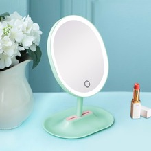 Plastic oval shape single side magnifying electrical makeup mirror for beauty products