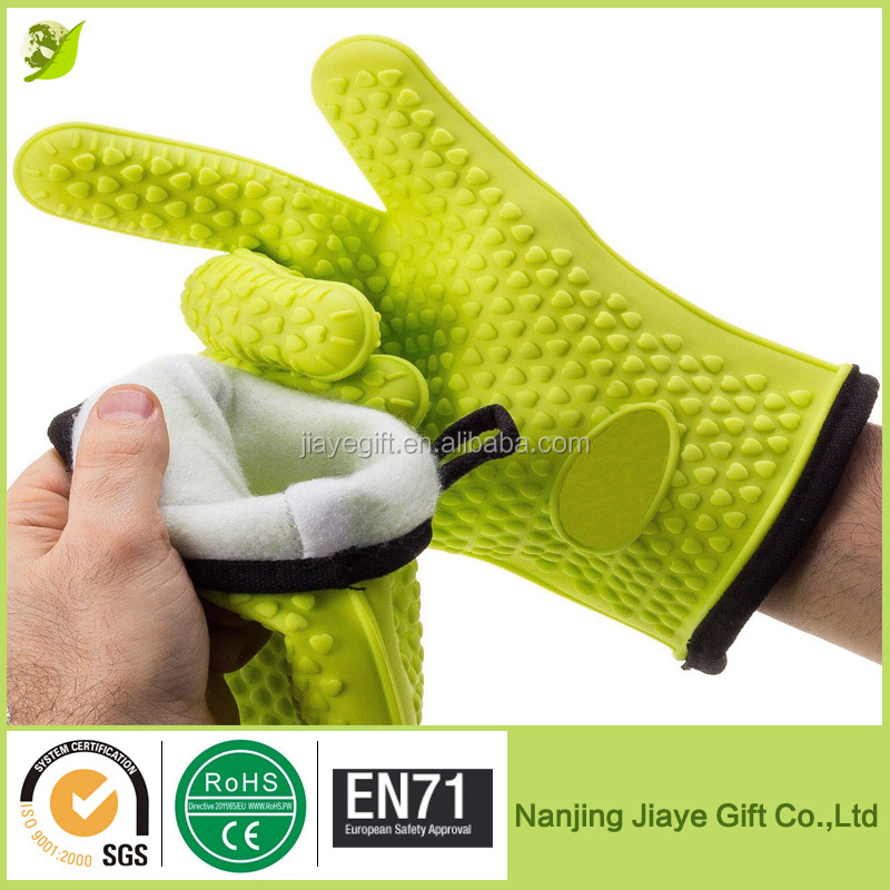 High Quality Silicone Heat Resistant Cooking BBQ Gloves With Internal Protective Cotton Layer