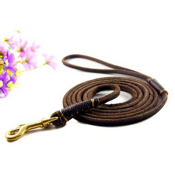 Handmade Band 160*0.6cm Short Cow Leather Pet Dog Leash For Small And Middle Dogs