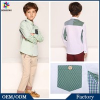 Latest Frock Design Boys Tops Mulitple Color Fashion Cotton Blouses Polka Dots\Plaid Kids Boys Fancy Shirts