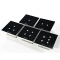 Black crystal glass 1/2/3/4/5 gang LED Lights soft touch screen light switch