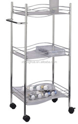 Metal Chrome Plated Three Tiers of Kitchen Rack with Wheels