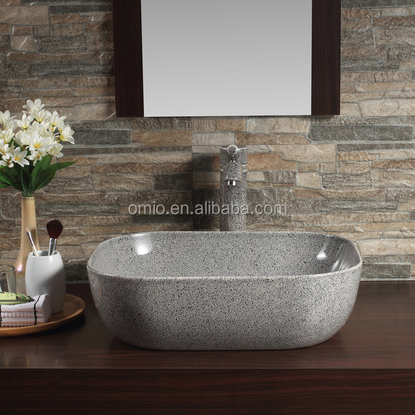 Color basin modern design stone material bathroom vanity vessel sink