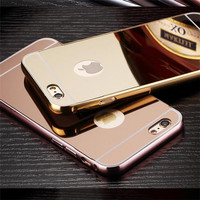 For iphone 6 metal luxury ultra thin aluminum skin cover case, mirror case for iphone 6