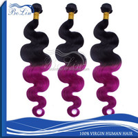 Best Selling Top Quality Hair Weft Ombre Color 1B/Purple Unprocessed Indian Hair