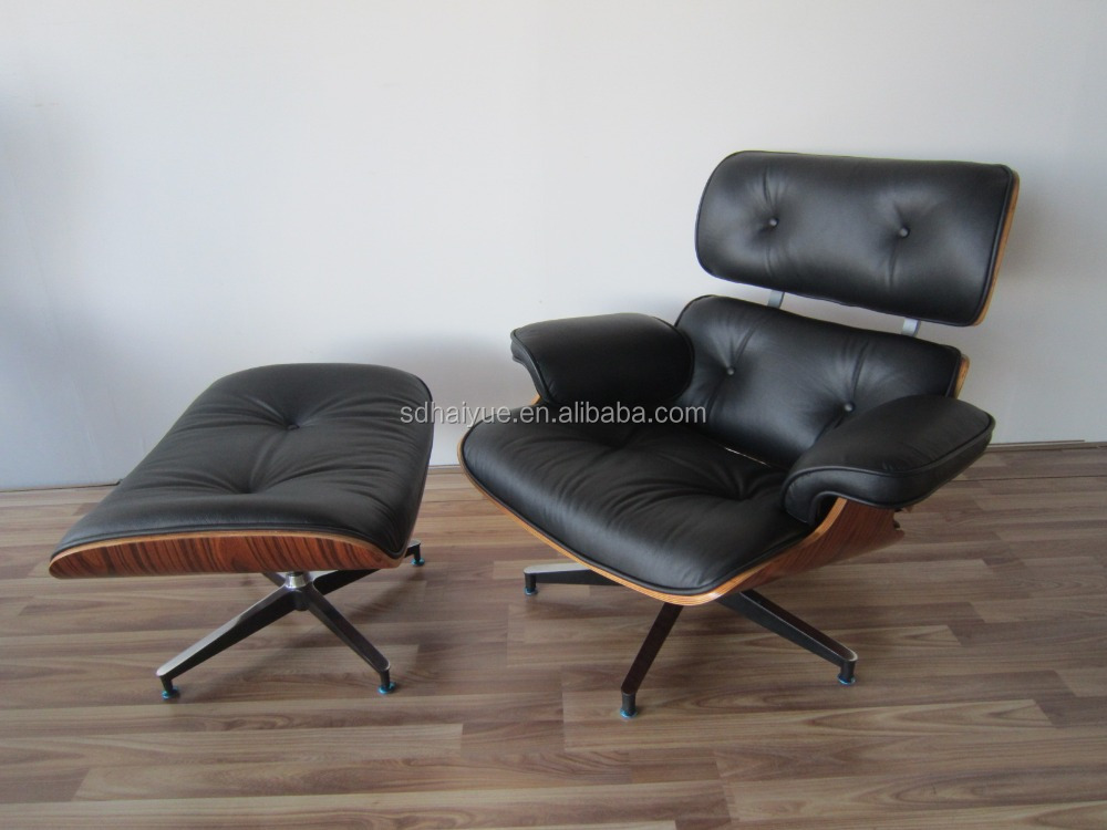 Modern Black High End Leather Lounge Chair With Ottoman for living room furniture