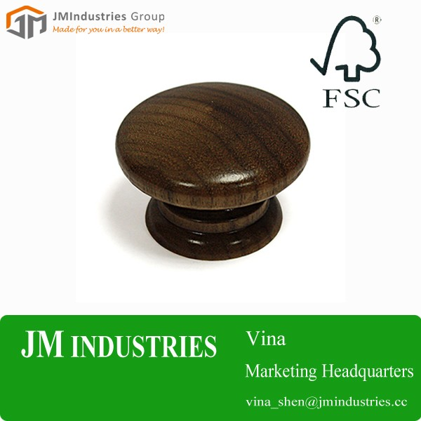 custom design high quality wooden round knob for furniture