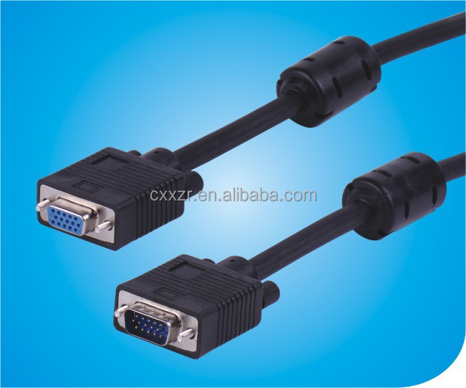 15pin vga cable male to female/vga cable with ferrite/hdmi to vga splitter cable