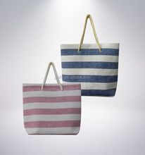 Customized stripe design beach bag