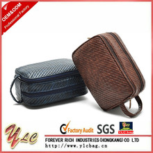 Knitted Leather Design Luxury Cosmetic Bags For Organizer Men Travel Toiletry Makeup Bag
