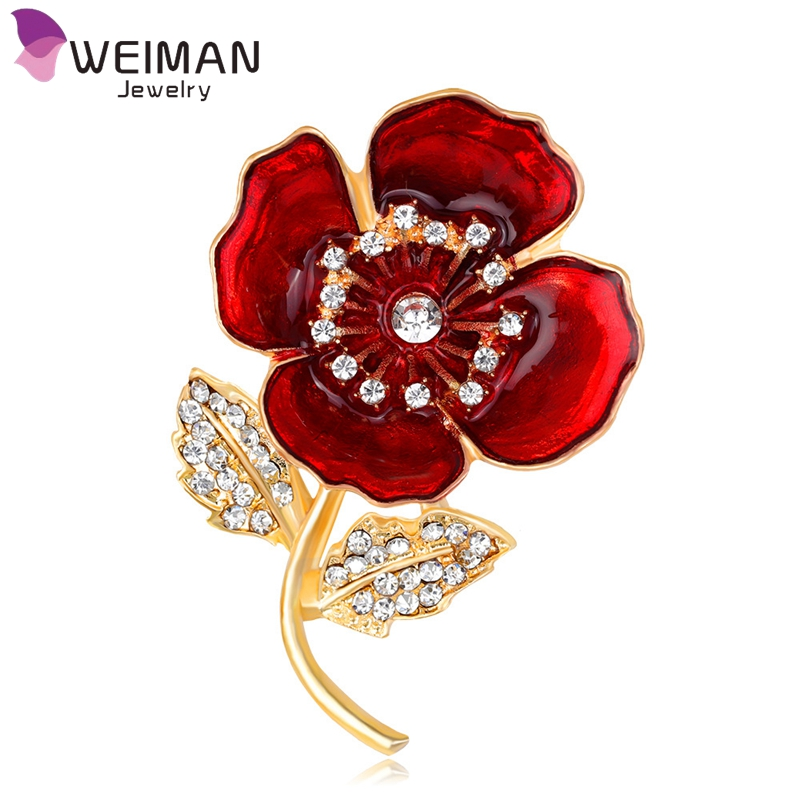 New Red Bule Poppy Flower Brooches Badges Pins Fashion Jewelry Memorial Enamel Brooch