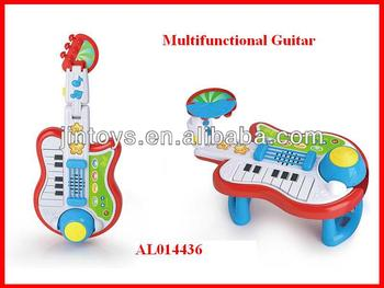 Kids Toys Plastic 2 in1 Multifunctional Electric Guitar, Musical Instrument toys for children, Educational Playset, AL014436