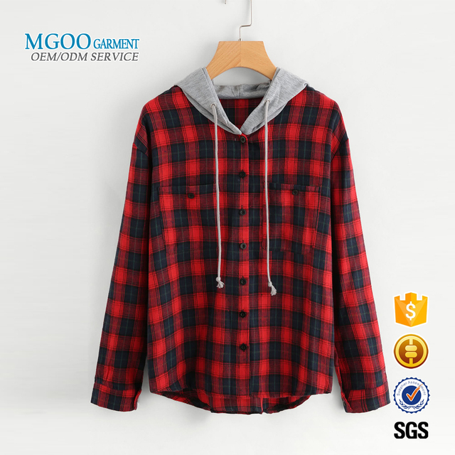 MGOO Garment Hooded Check Sweatshirt With Chest Pockets Button Front women hoodies unline curved hem hoodie
