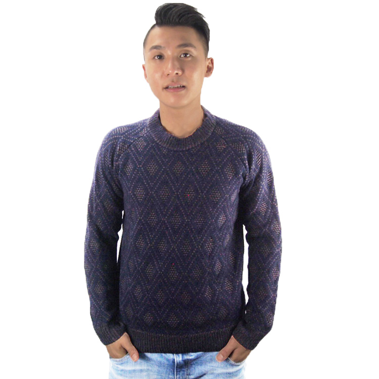 Manufacturer checkered pattern knit long sleeve woolen pullover sweater for men