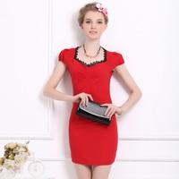Women lady girl Casual Dresses red lay black lace Slim tight aristocratic temperament bubble short-sleeved dress 8007