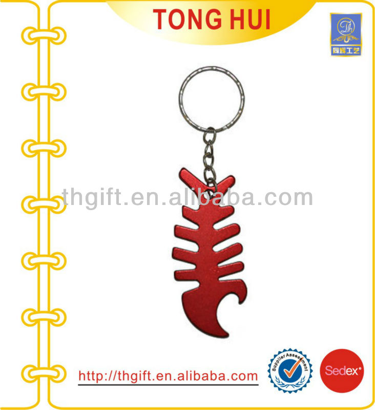 Split ring Aluminum red fish pendant metal keyrings