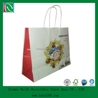2015 christmas white kraft paper bag with handle