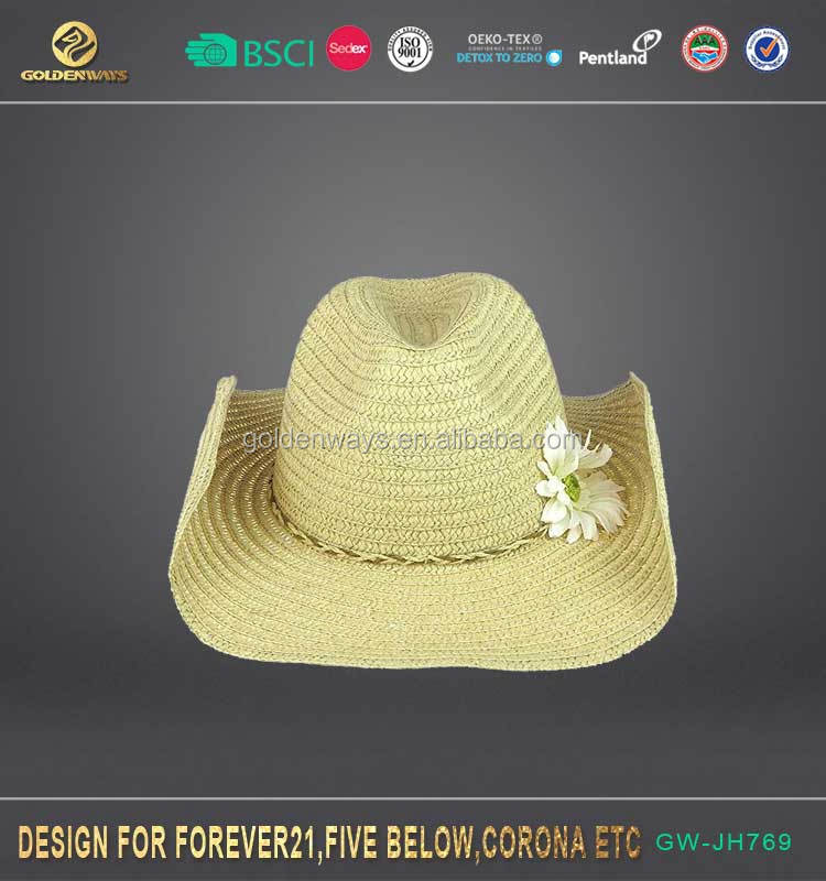 2017 simple new green cowboy hat promotion items summer garden hat