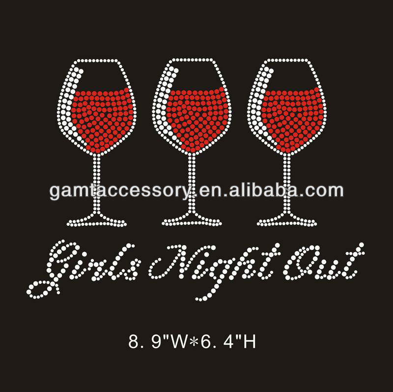 bling rhinestone applique heat transfers drink design girls night out