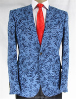 Linen printing jacket for man/blue bamboo leaf printing- fashion jakcet
