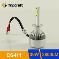 2017 New and hot selling Replacement C6 H1 led headlight, super bright all in one COB 36W h1 led headlights