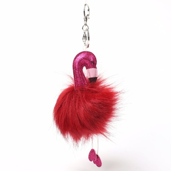 PO000184 WT Yiwu Promotional Animal Car Key Ring Wholesale Pom Pom Flamingo Keychain For Women