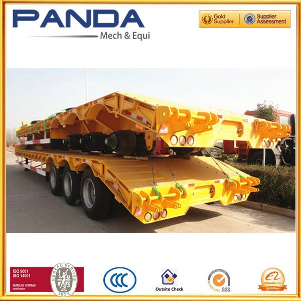 Pandamech 3 axles heavy equipment transport trailer with spring suspension lowboy semi trailer low bed trailer dimensions