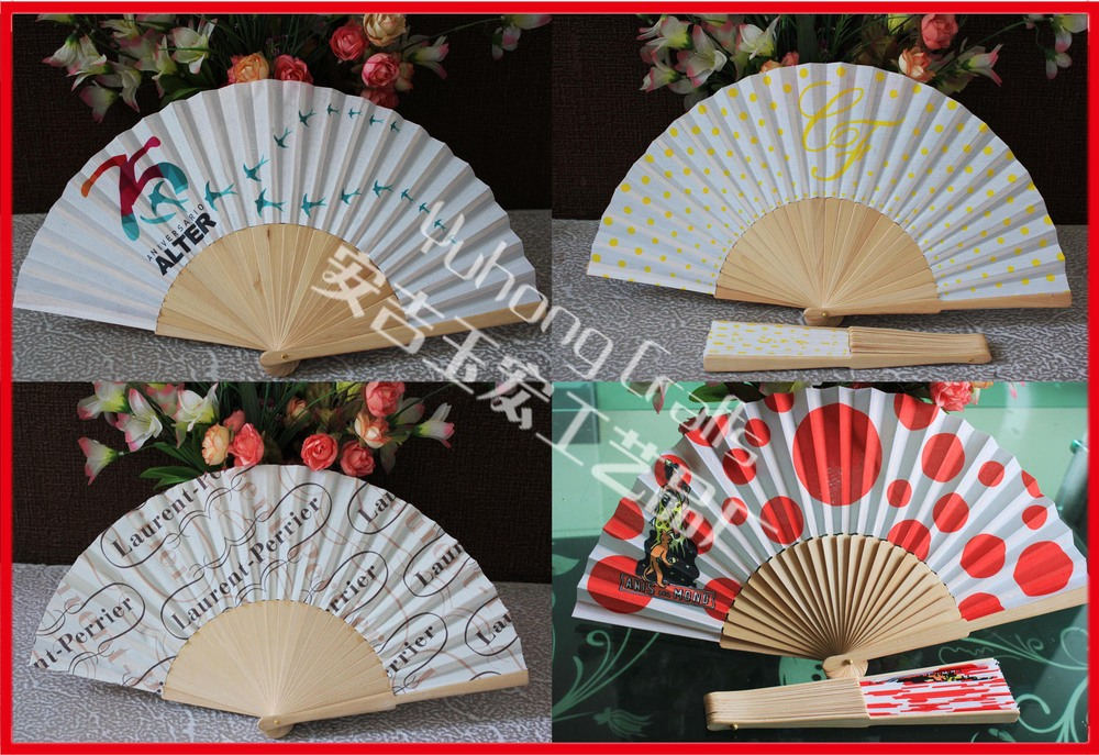 Customized wood fabric fan