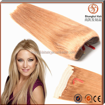Top Grade 7A Natural Human Hair Lace Weft Halo Hair Extensions