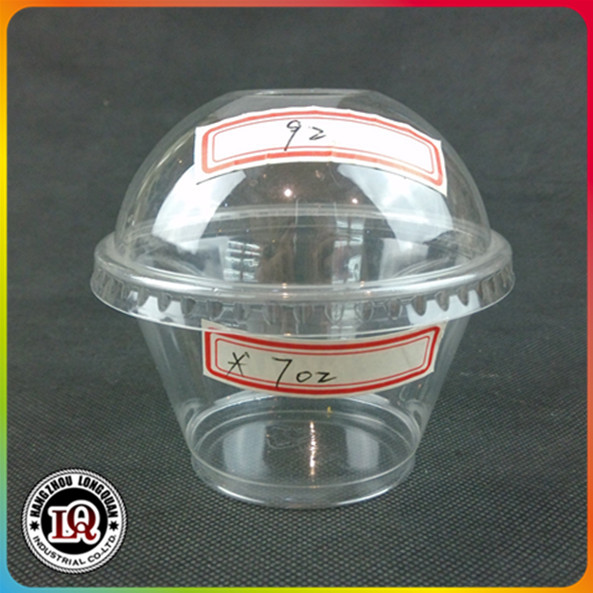 China Clear 92mm Dome Cover 7oz Disposable Plastic PET Cup
