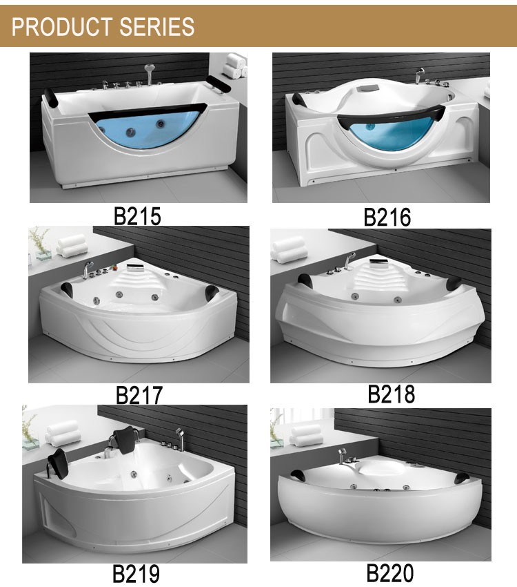 New fashion bathroom acrylic massage bathtub