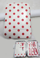 fashion polka dot manicure sets Pu material with white and red color for nail care