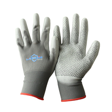 13G Polyester Liner PVC dots Palm PU Coating Work Glove