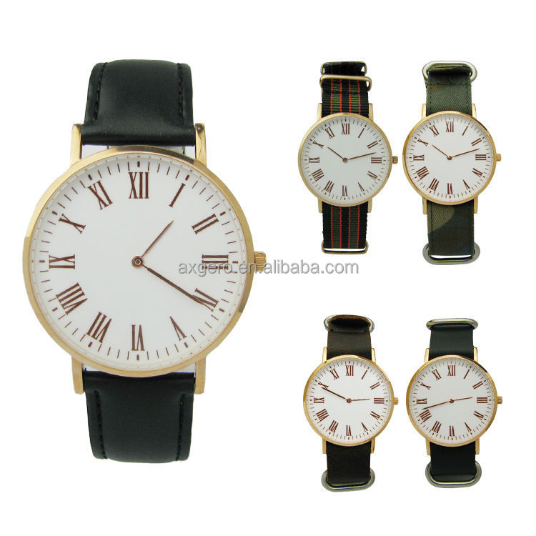 Quartz stainless steel interchangeable genuine leather de longe quartz watch