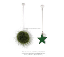 Imitation Pearl Stud Earrings Wood Pentagram Star Tassel Long Earrings Mink Fur Ball Asymmetric Earrings