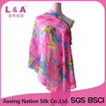 Flowers digital printing polyester chiffon scarf women in sunmmer