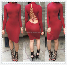 long sleeve fashion tight high neck bandage sexy women apparel
