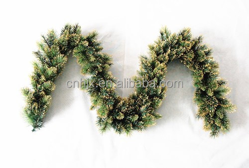 Green PVC With Fashion Gold Powder Artificial Christmas Garland