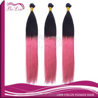 ombre color 1b pink Cheap wholesale top quality 8a hair virgin brazilian hair extension