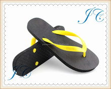 2015 fashion lady yellow two color strap beach outdoor flip flop for promotion