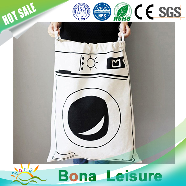 Cute Laundry Drawstring Cotton Canvas Bag for Storage