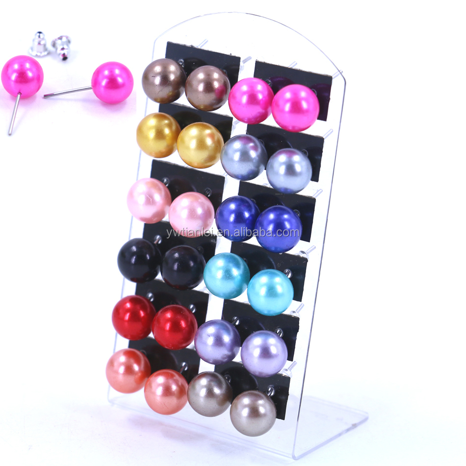 12pairs Set Cheap 10mm Plastic Ball Pearl Earrings