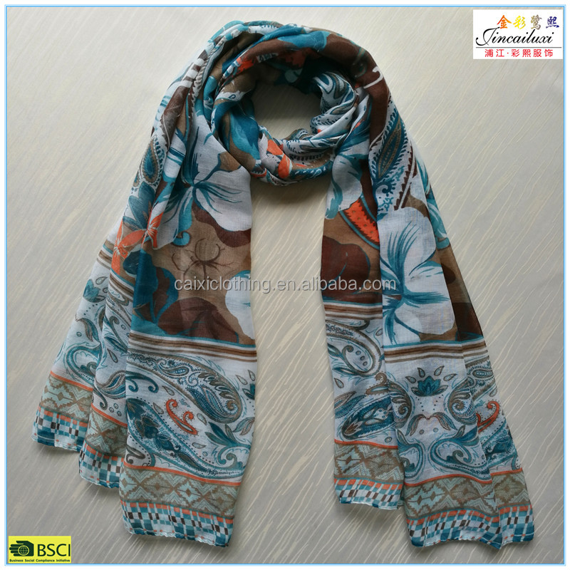 Top fashion paisley and flower printing hijab scarf