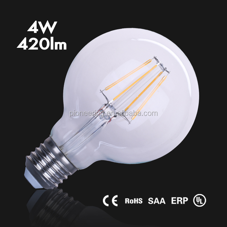 Wholesale G80 4W LED filament bulb E26/E27with IC driver Dimmable ULCE
