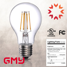 Hight quality indoor lighting CE UL LED bulb filament, dimmable led filament bulb A60 A19 4w 5W 6.5W 8W
