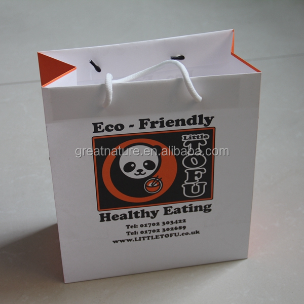Eco-friendly foldable white kraft paper bags paper shopping bags