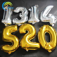 18 Inch Gold Number Balloon Aluminum