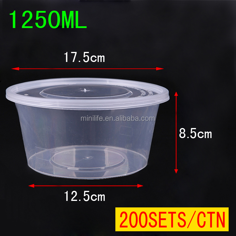 1250ML With Lids Disposable Oven Safe Food Container, Cheap Round Disposable Plastic Food Container