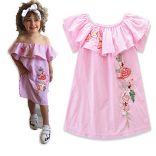 <strong>Girls</strong> Kid Baby Princess Pink Off Shoulder <strong>Dress</strong> Summer Clothes Frock Pageant Party <strong>Dress</strong> with Rose Flower