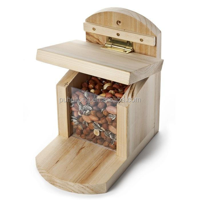 Squirrel wooden peanut feeder